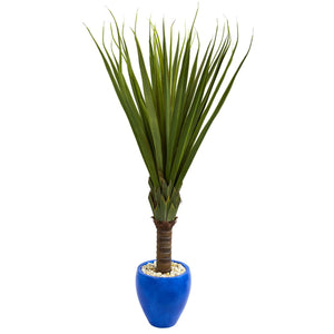 5.5' Spiky Agave Artificial Plant in Blue Oval Planter