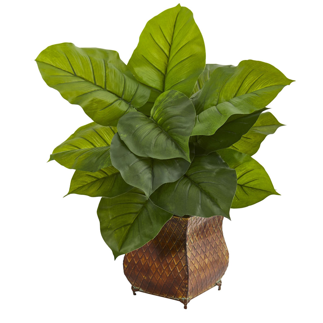 Large Leaf Philodendron Artificial Plant in Metal Planter (Real Touch)