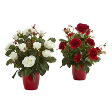 Load image into Gallery viewer, Rose Artificial Plant in Red Planter (Set of 2)