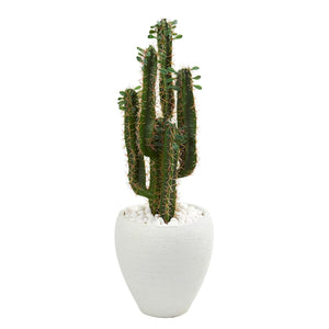 3' Cactus Artificial Plant in White Planter