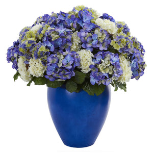 Hydrangea Artificial Plant in Blue Planter