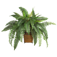 Load image into Gallery viewer, Boston Fern w/Wood Wicker Basket Silk Plant