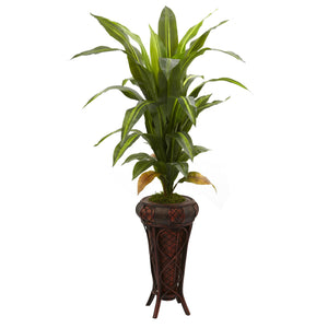 "57"" Dracaena w/Stand Silk Plant (Real Touch)"