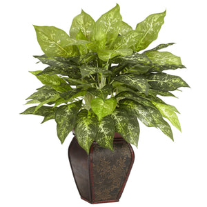 Dieffenbachia w/Decorative Vase Silk Plant