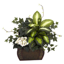 Load image into Gallery viewer, African Violet, Dieffenbachia & Ivy w/Chest Silk Plant