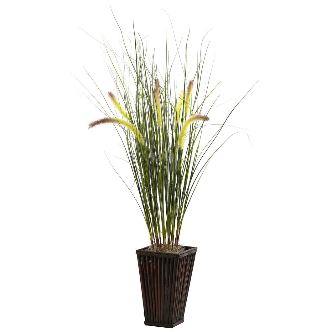 Grass w/Cattails & Bamboo Planter
