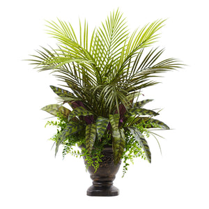 "27"" Mixed Areca Palm, Fern & Peacock w/Planter"