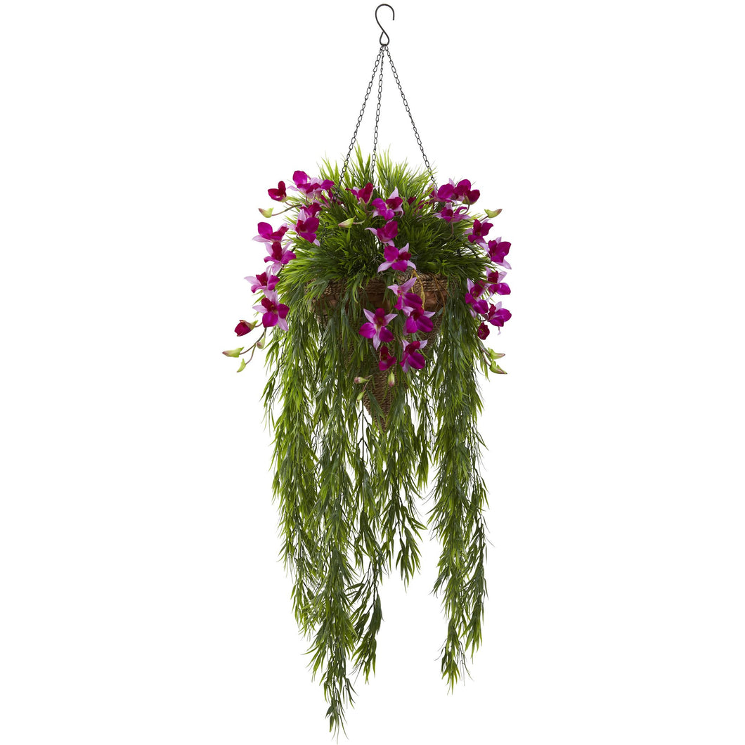 Bamboo & Dendrobium Hanging Basket - Purple