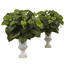 Load image into Gallery viewer, Pothos Silk Plant with Urn (Set of 2)