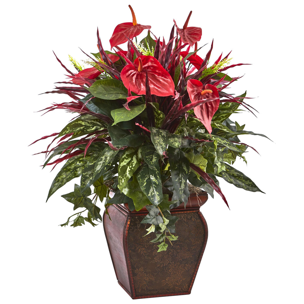 Anthurium Mixed Plant with Planter