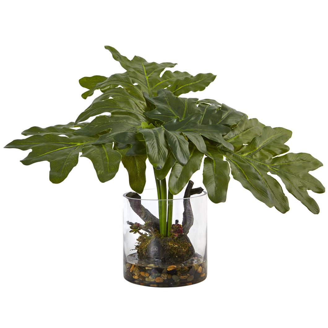 Artificial Philodendron Arrangement with Vase