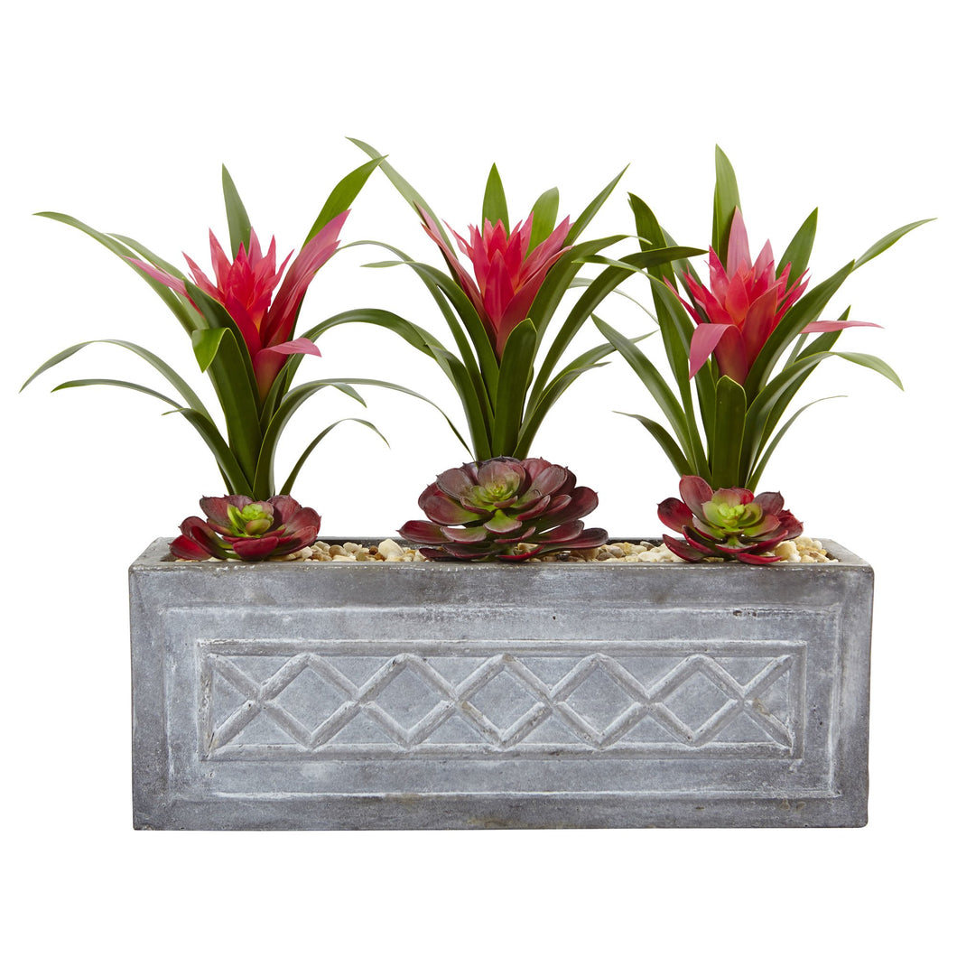 Ginger and Succulent Artificial Plant in Stone Planter