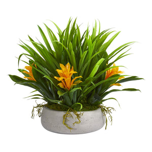 "16"" Bromeliad & Grass Artificial Plant in Ceramic Vase - Yellow"