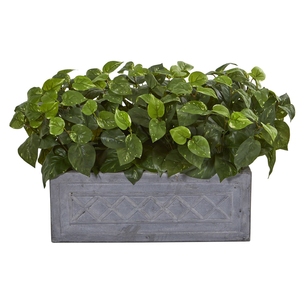 Pothos Artificial Plant in Stone Planter