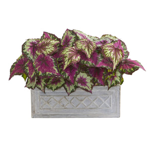 "17"" Wax Begonia Artificial Plant in Stone Planter"