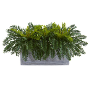 Cycas Aritificial Plant in Stone Planter