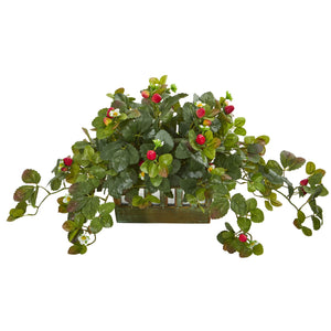 Strawberry Artificial Plant in Decorative Planter