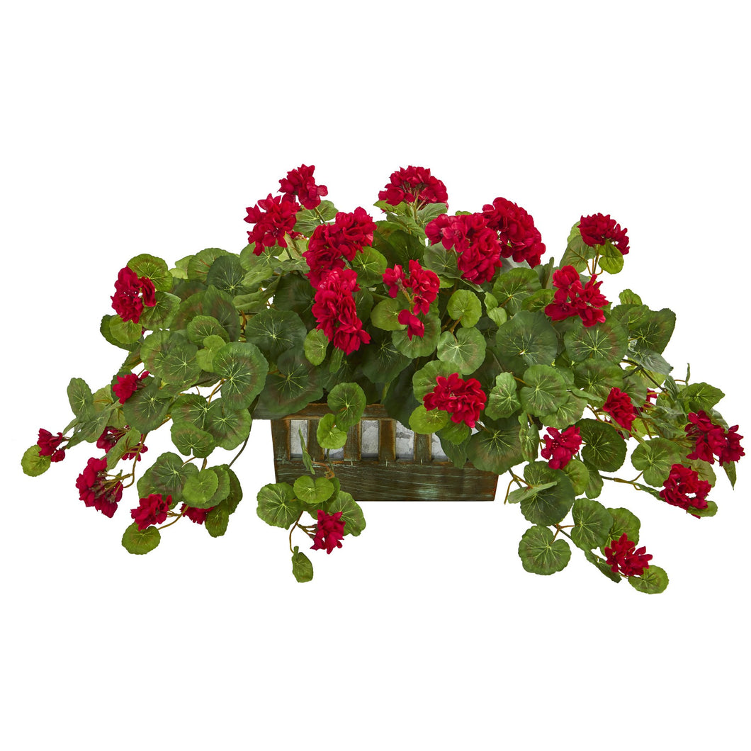 Geranium Artificial Plant in Decorative Planter