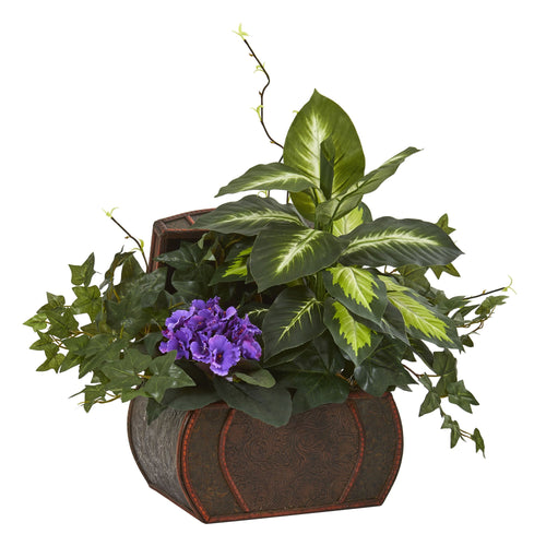 African Violet & Mix Greens Artificial Plant in Decorative Chest