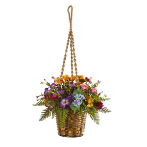 Mixed Floral Artificial Plant in Hanging Basket