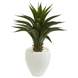 Agave Artificial Plant in White Planter