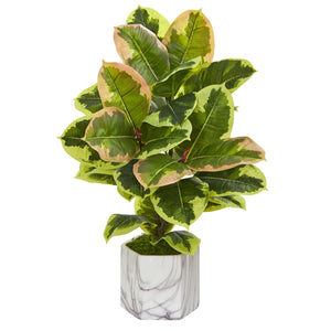 Rubber Leaf Artificial Plant in Marble Finished Vase (Real Touch)