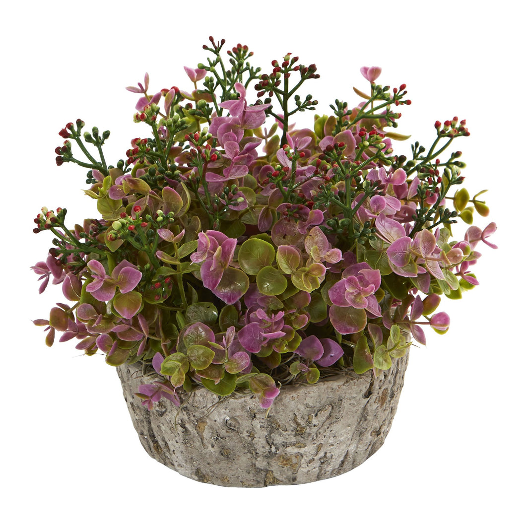 Eucalyptus Artificial Plant in Oak Planter - Purple