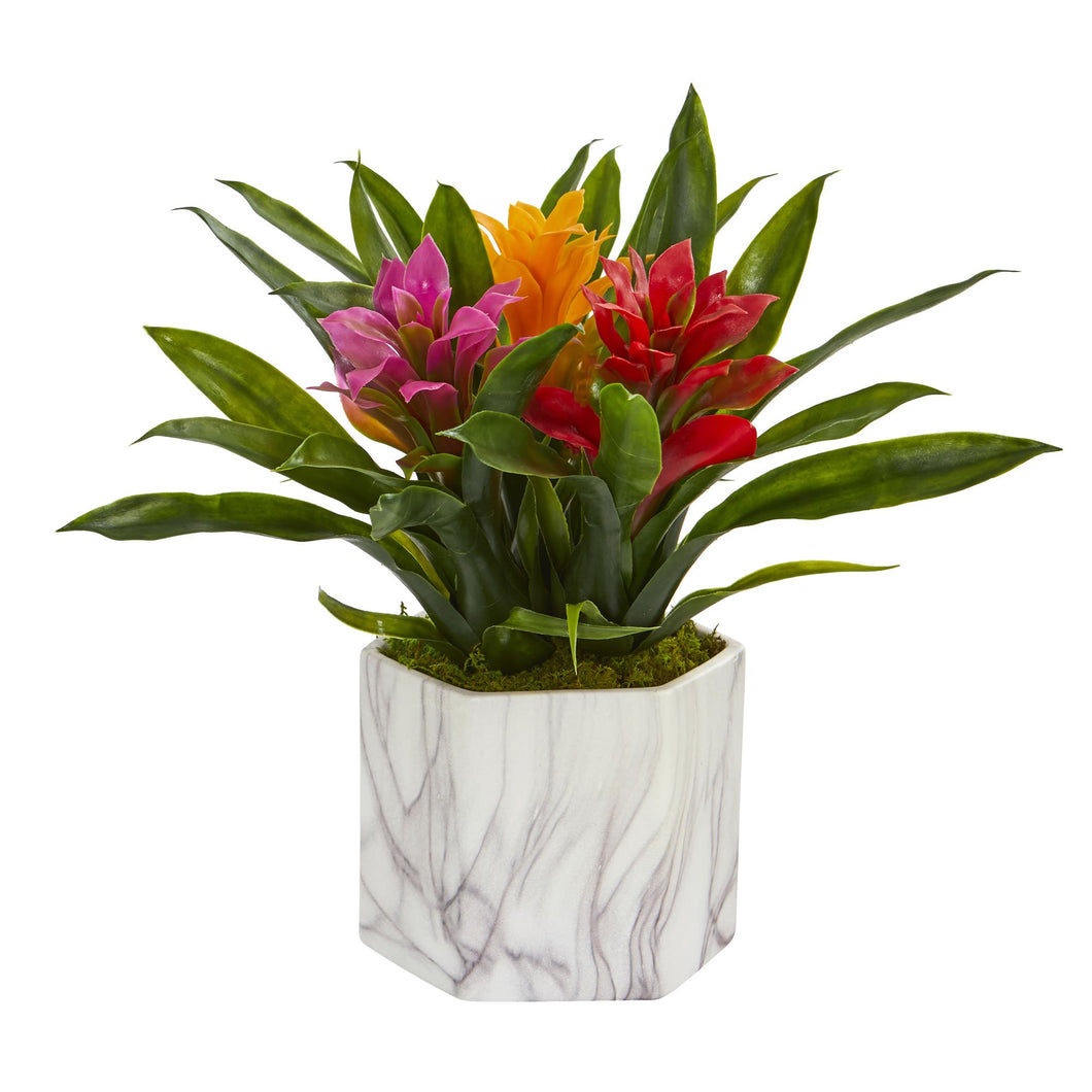 Bromeliad Artificial Plant in Marble Finished Vase - Assorted