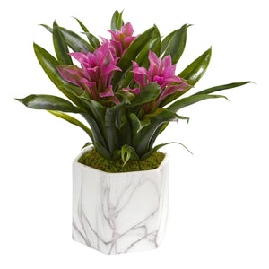 Bromeliad Artificial Plant in Marble Finished Vase - Purple
