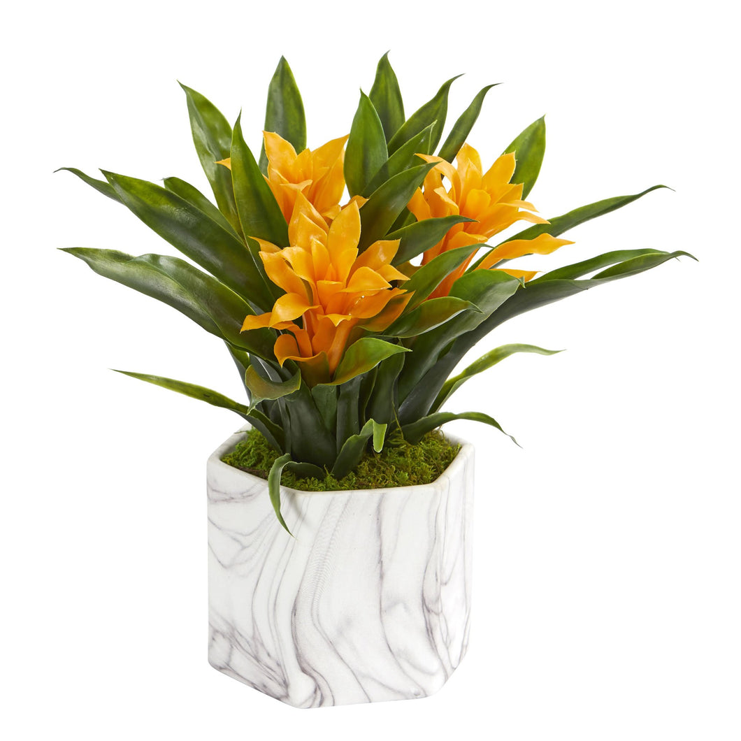 Bromeliad Artificial Plant in Marble Finished Vase - Yellow