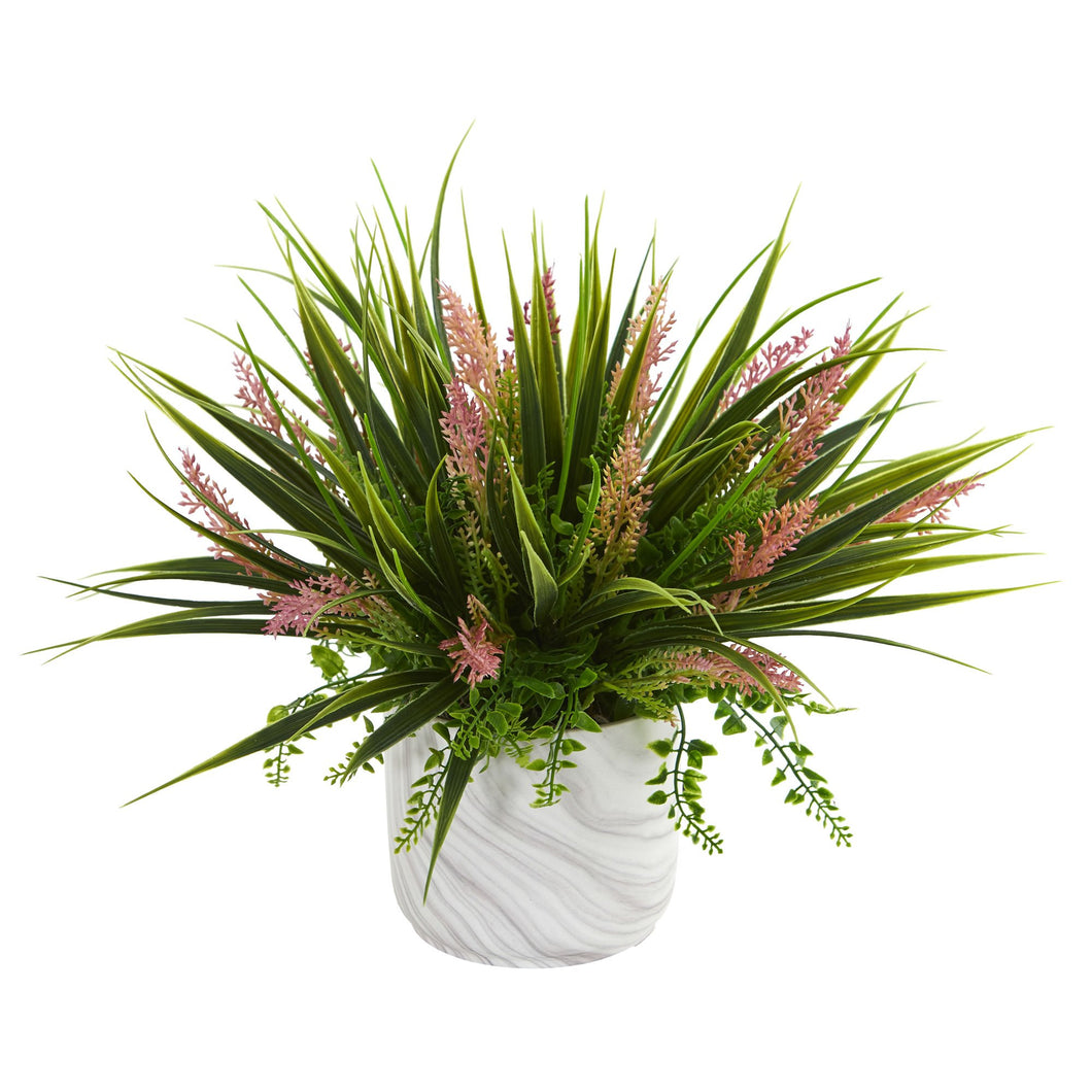 Grass and Fern Artificial Plant in Marble Finished Vase