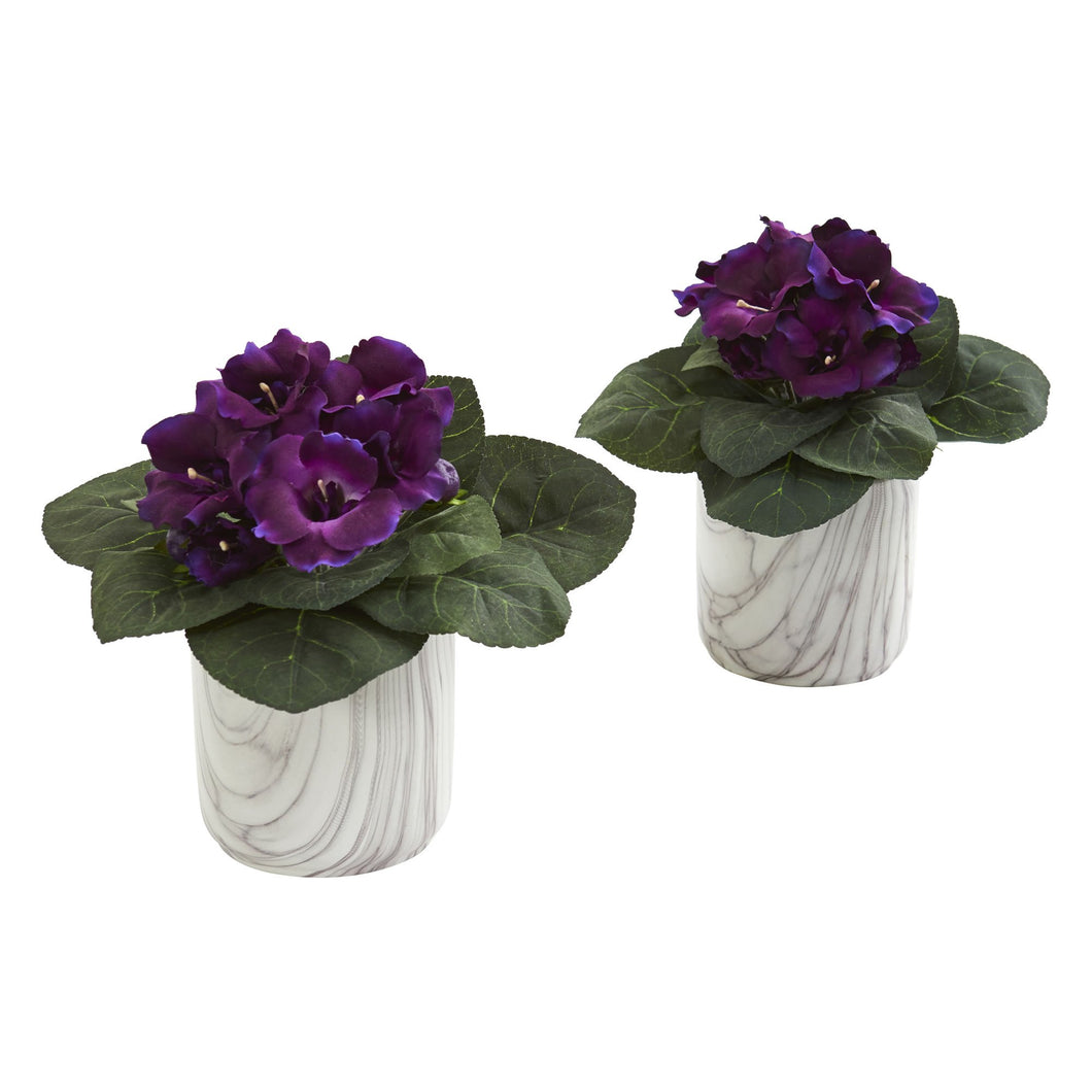 Gloxinia Artificial Plant in Marble Finished Vase (Set of 2)