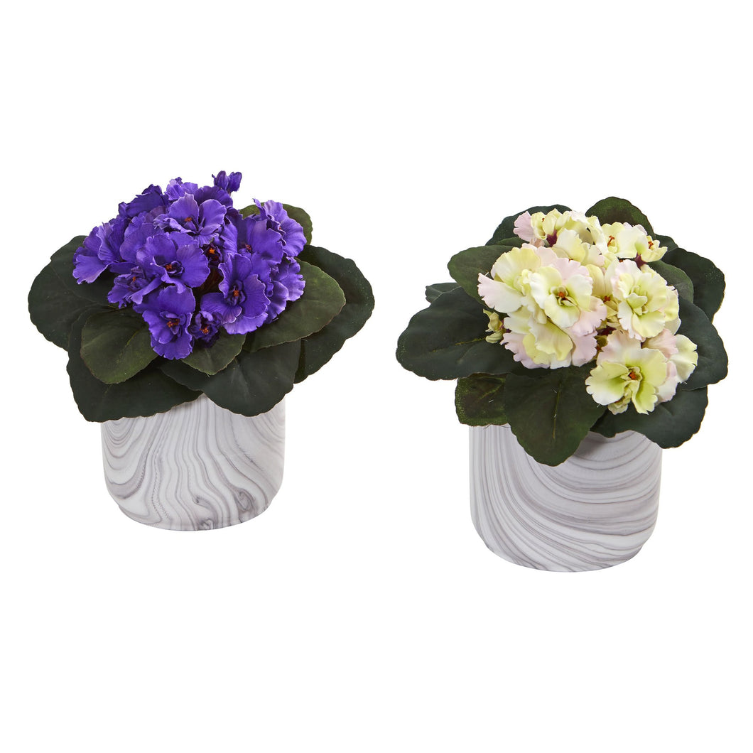 African Violet Artificial Plant in Marble Vase (Set of 2)