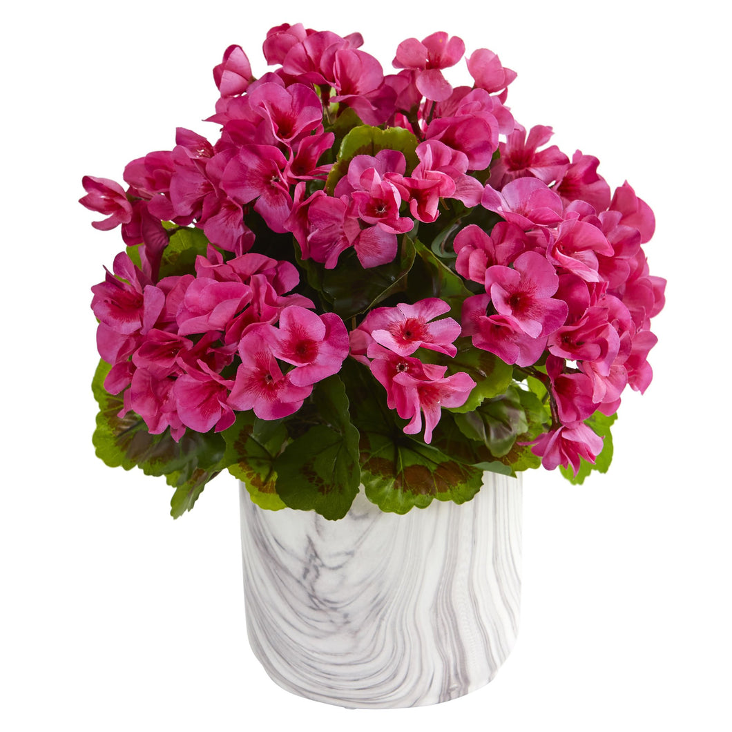 Geranium Artificial Plant in Marble Finished Vase UV Resistant (Indoor/Outdoor) - Beauty