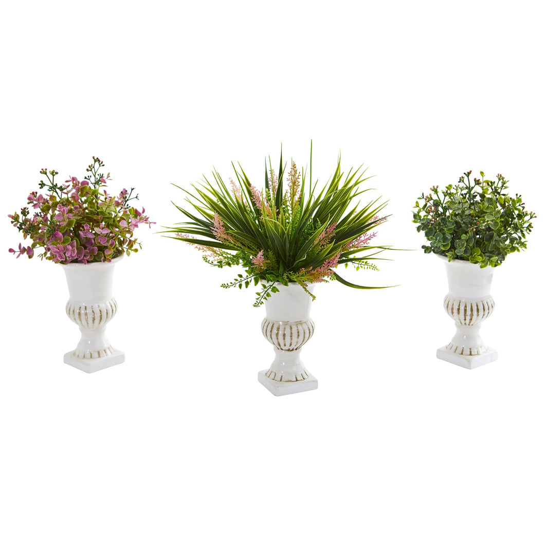 Eucalyptus and Grass Artificial Plant in White Urn (Set of 3)