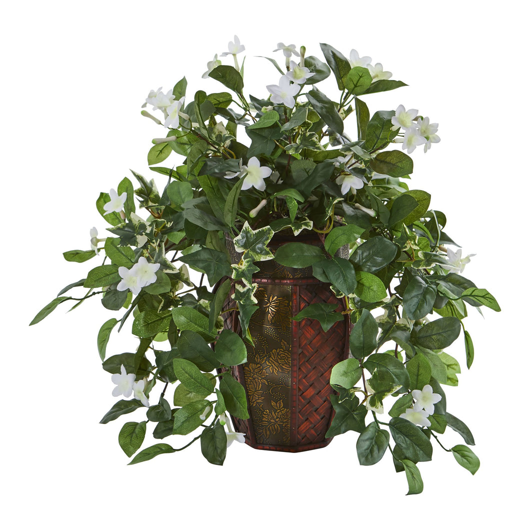 Stephanotis and Ivy Artificial Plant in Decorative Planter