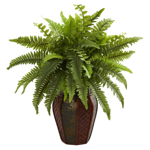 Boston Fern Artificial Plant in Decorative Planter