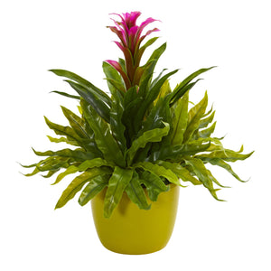 Bromeliad and Fern Artificial Plant in Green Vase - Purple
