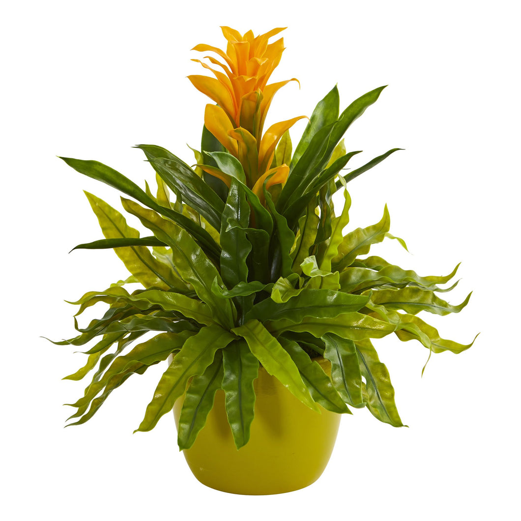 Bromeliad and Fern Artificial Plant in Green Vase - Yellow