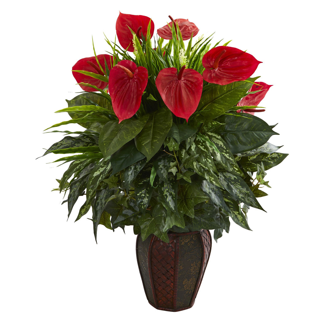 Mixed Anthurium Artificial Plant in Decorative Planter - Green