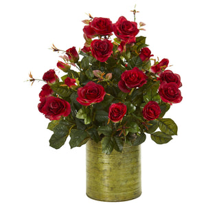 Garden Rose Artificial Arrangement in Metal Planter - Red