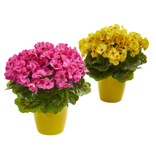 Geranium Artificial Plant in Ceramic Vase UV Resistant (Indoor/Outdoor) (Set of 2) - Beauty
