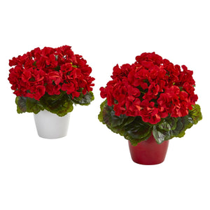 Geranium Artificial Plant in Ceramic Vase UV Resistant (Indoor/Outdoor) (Set of 2) - Red