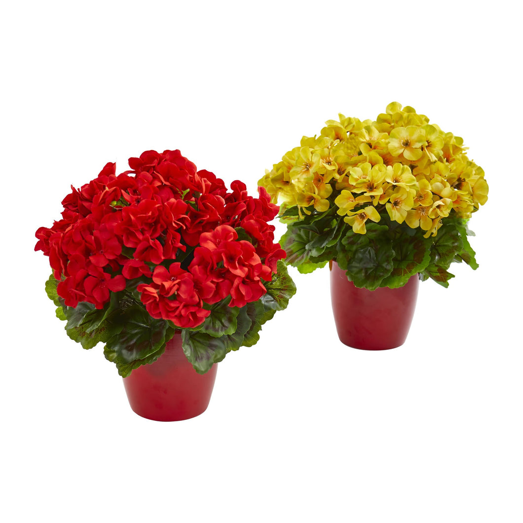 Geranium Artificial Plant in Ceramic Vase UV Resistant (Indoor/Outdoor) (Set of 2) - Red Yellow