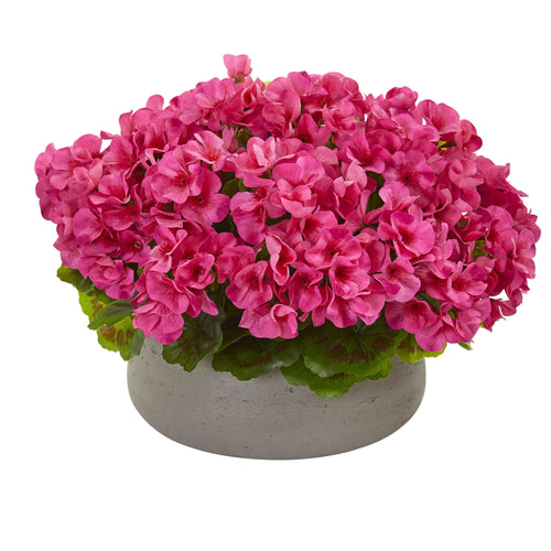 Geranium Artificial Plant in Stone Planter UV Resistant (Indoor/Outdoor) - Beauty