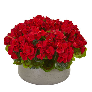 Geranium Artificial Plant in Stone Planter UV Resistant (Indoor/Outdoor) - Red