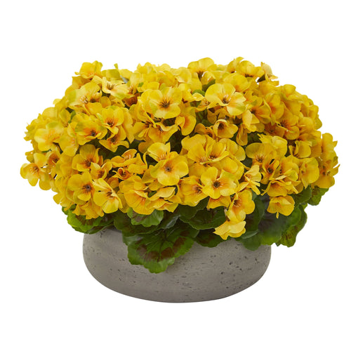 Geranium Artificial Plant in Stone Planter UV Resistant (Indoor/Outdoor) - Yellow