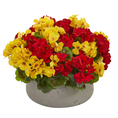 Geranium Artificial Plant in Stone Planter UV Resistant (Indoor/Outdoor) - Yellow Red