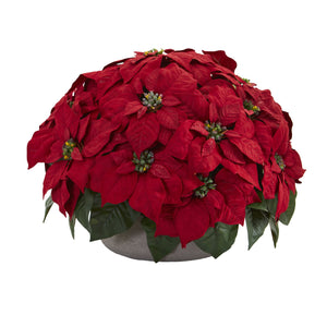 Poinsettia Artificial Plant in Stone Planter