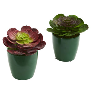Echeveria Succulent Artificial Plant in Green Planter (Set of 2)